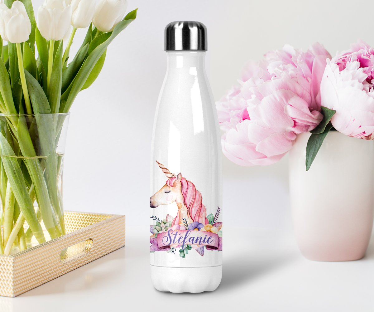 Personalized Name Unicorn Stainless Steel Water Bottle