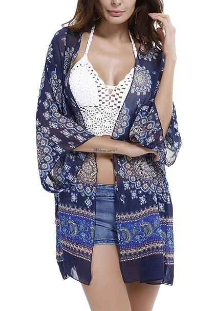 PassMe Camisola Playa Mujer Verano Kimpno Cardigan de Gasa Camiseta Suelta Vestido de Playa Traje de