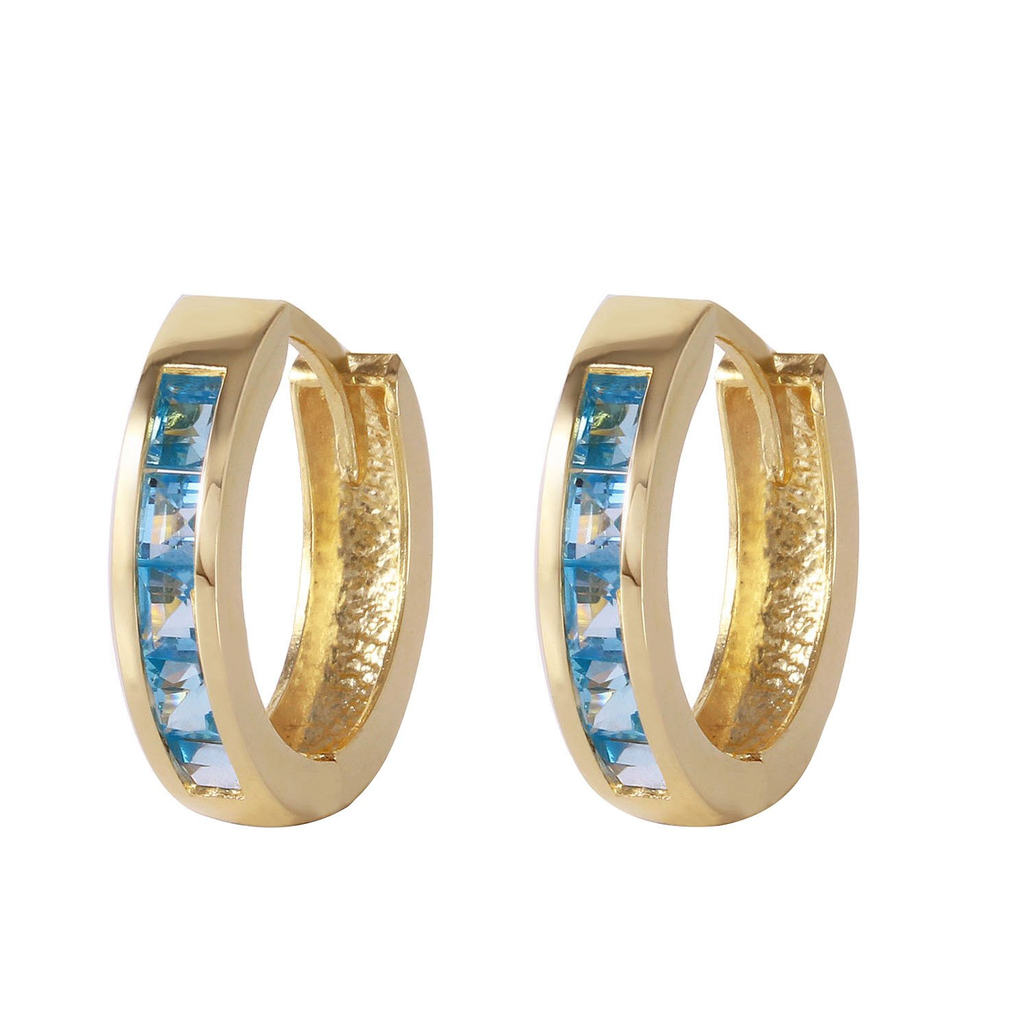 Galaxy Gold Genuine 14k Solid Gold Hoop Huggie Earrings with Stunning Natural 1.2 Carat(CTW) Blue Topaz