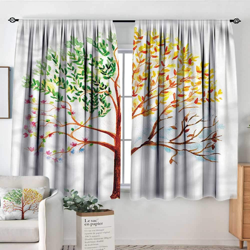 familytaste Watercolor,Nursery/Baby Care Curtains Tree Seasons Nature 104''x96'' Indo Treatment Panes by familytaste