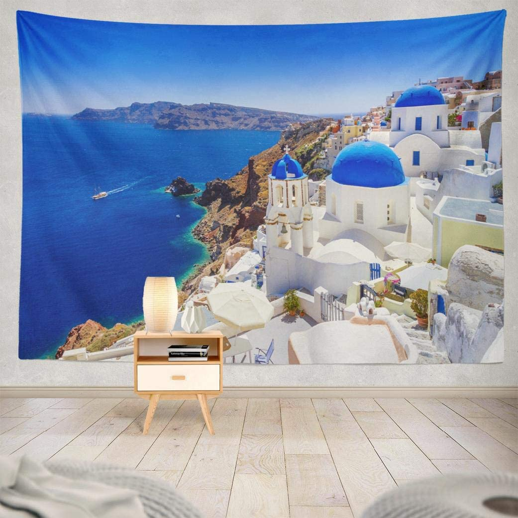 Santorini Tapestry,Wall Hanging Beautiful Town Landmark Nature Europe Wall Tapestry for Bedroom Living Room Tablecloth Dorm 80X60 Inches