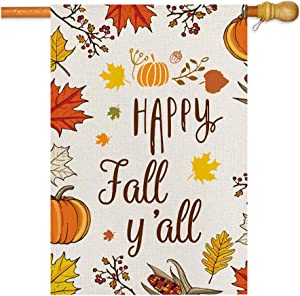 Happy Fall House Flag,Fall Maple Leaf Leaves Pumpkin Farm Harvest Garden Flag,Double Sided Burlap Thanksgiving Decorative Welcome Flags for Home Lawn Yard Indoor Outdoor Decor,28 x 40 Inch