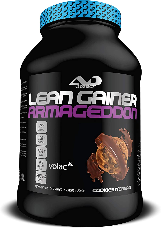 ADDICT SPORT NUTRITION AD - Aumento de peso - Lean Gainer Armageddon - 4 Kilos - Sabor Cookie NCream