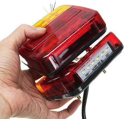 prüfezeichen faros traseros camiones remolque 4x 112mm LED alrededor de luces de frenado 12//24v E