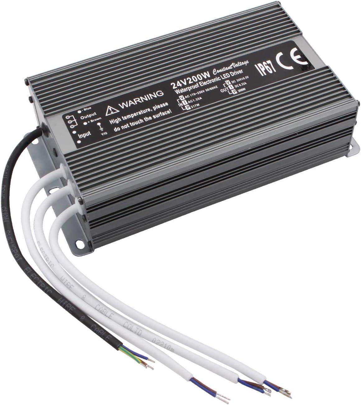 NCL Fuente de alimentación a Prueba de Agua 24V 8.33A 200W DC Transformer,100V-240V AC to24V 200W Constant Voltage LED Driver, Apply to Automation, Medical, Lamps, Instrumentation, Electric Power
