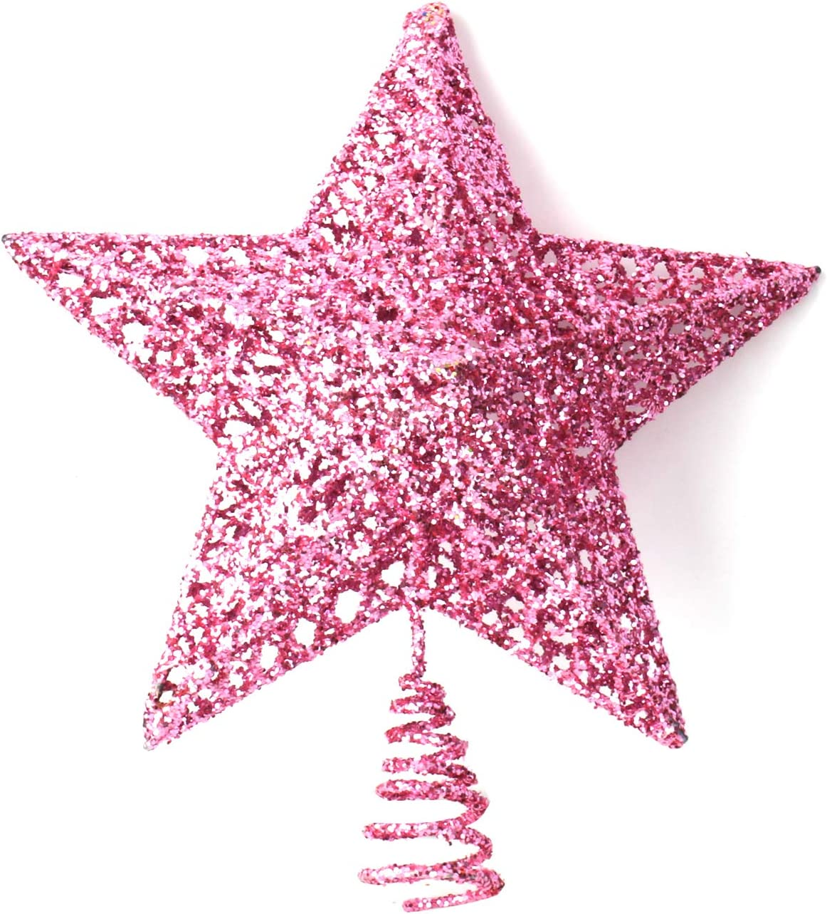 INAROCK Christmas Tree Toppers,8-Inch Star Tree Toppers Hallow Gold Glittered Metal Design Tree-top Star 10 LED Lights Christmas Tree Topper Star for Christmas Home Decoration