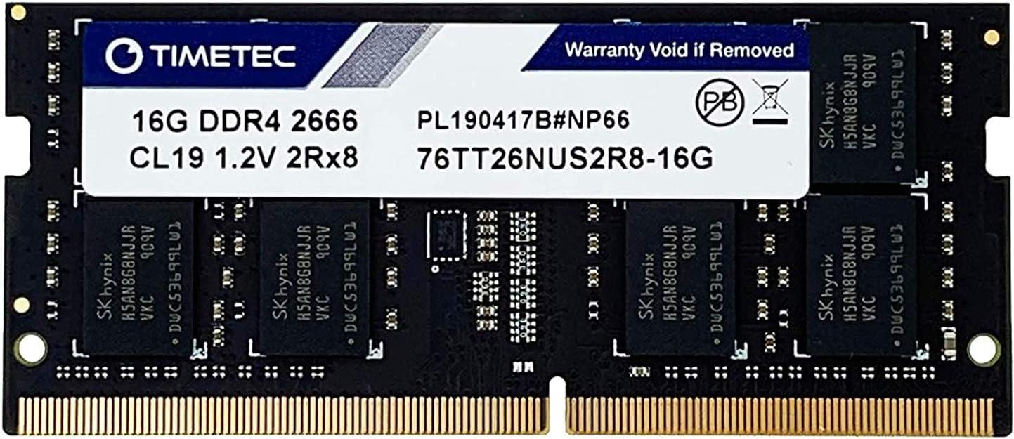 Timetec Hynix IC 16GB DDR4 2666MHz PC4-21300 Unbuffered Non-ECC 1.2V CL19 2Rx8 Dual Rank 260 Pin SODIMM Laptop Notebook Computer Memory RAM Module Upgrade (16GB)