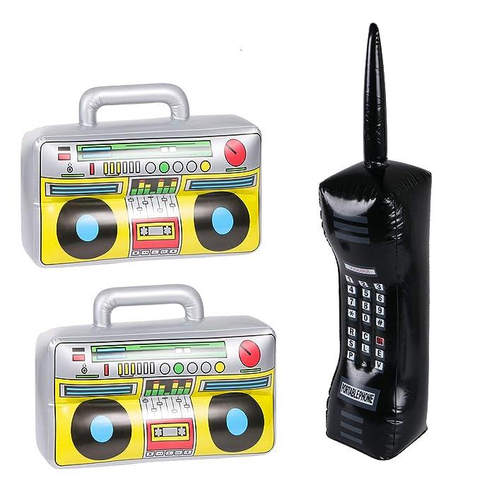 3 piezas de boombox inflable y teléfono móvil - 80s 90s ...