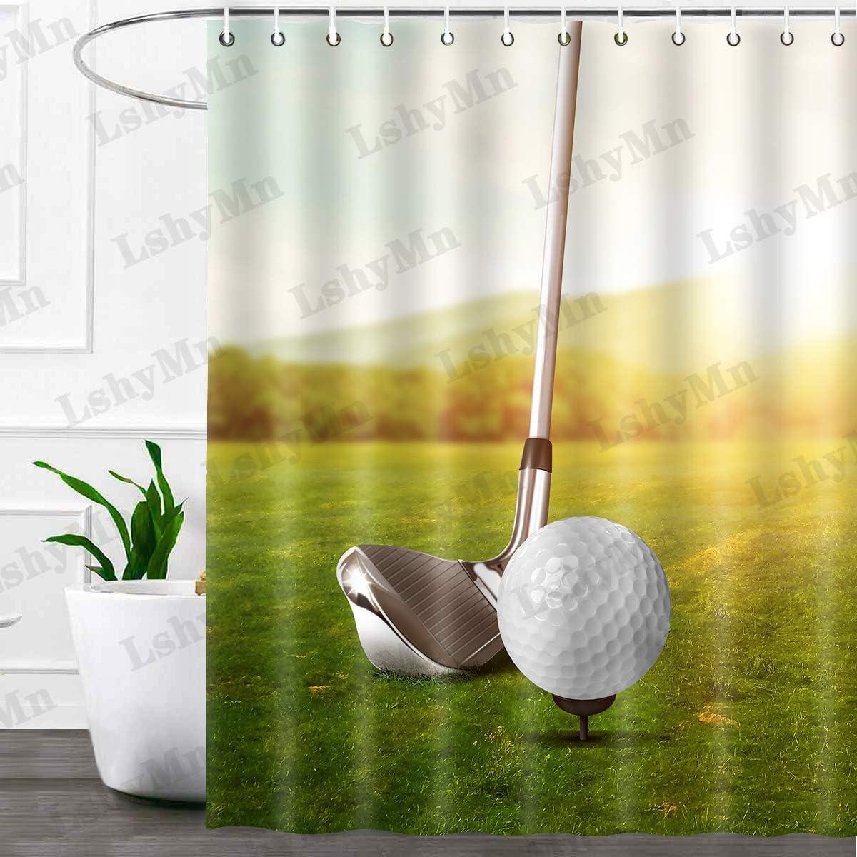 Sports Shower Curtain, Golf Ball Theme Outdoor Sports Shower Curtain Set with Hooks for Bathroom Decor Waterproof Fabric Shower Curtain 72x72 Inches YLSYMN37