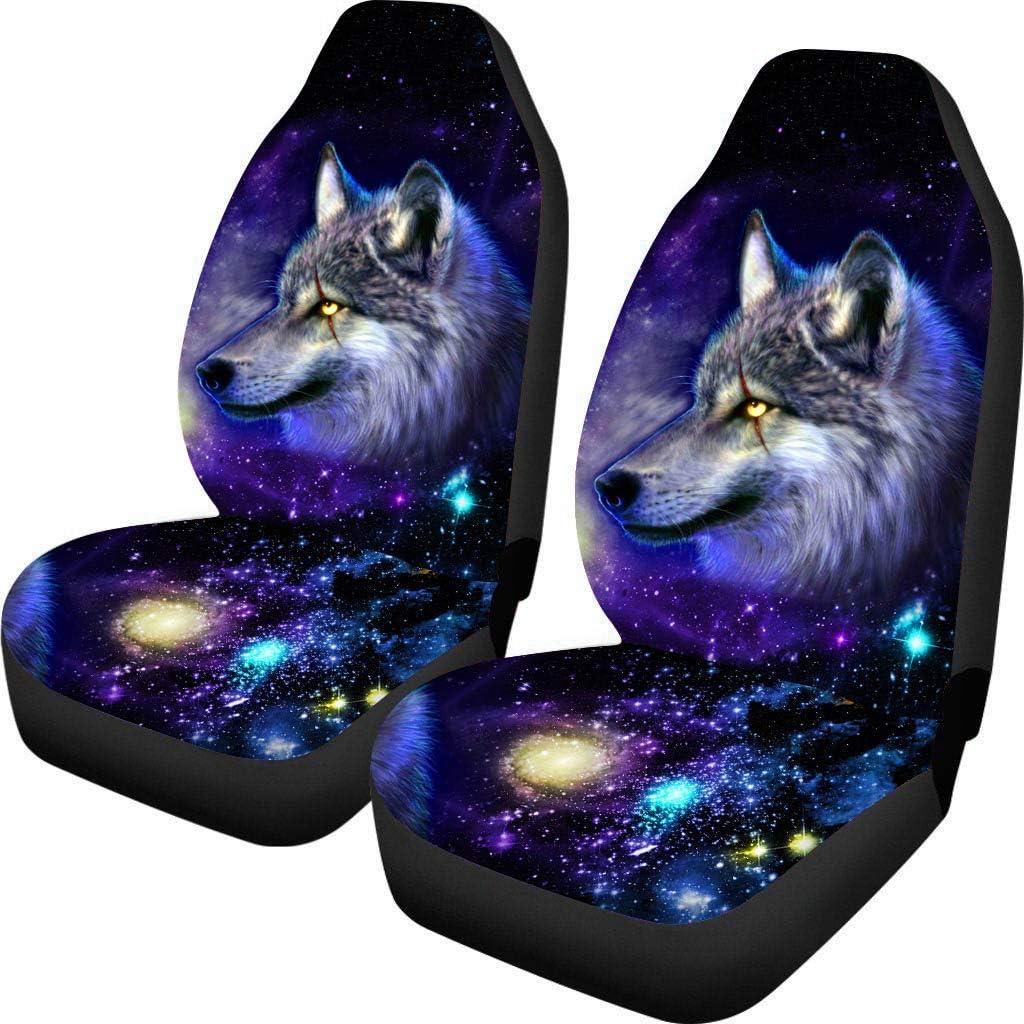 chaqlin Galaxy Animal Wolf Autositzschutz F/ür Universal Fit Auto Autositzbez/üge Schutz F/ür Auto LKW Gel/ändewagen 2 Vordersitzbezug