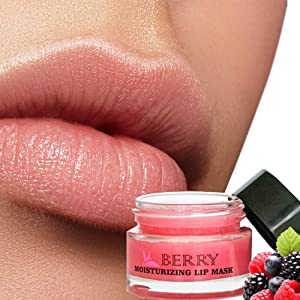 Moisturizing Berry Sleeping Lip Mask Balm, Younger Looking Lips Overnight, Best Solution For Chapped And Cracked Lips, Unique Formula And Power Benefits Of Green Tea