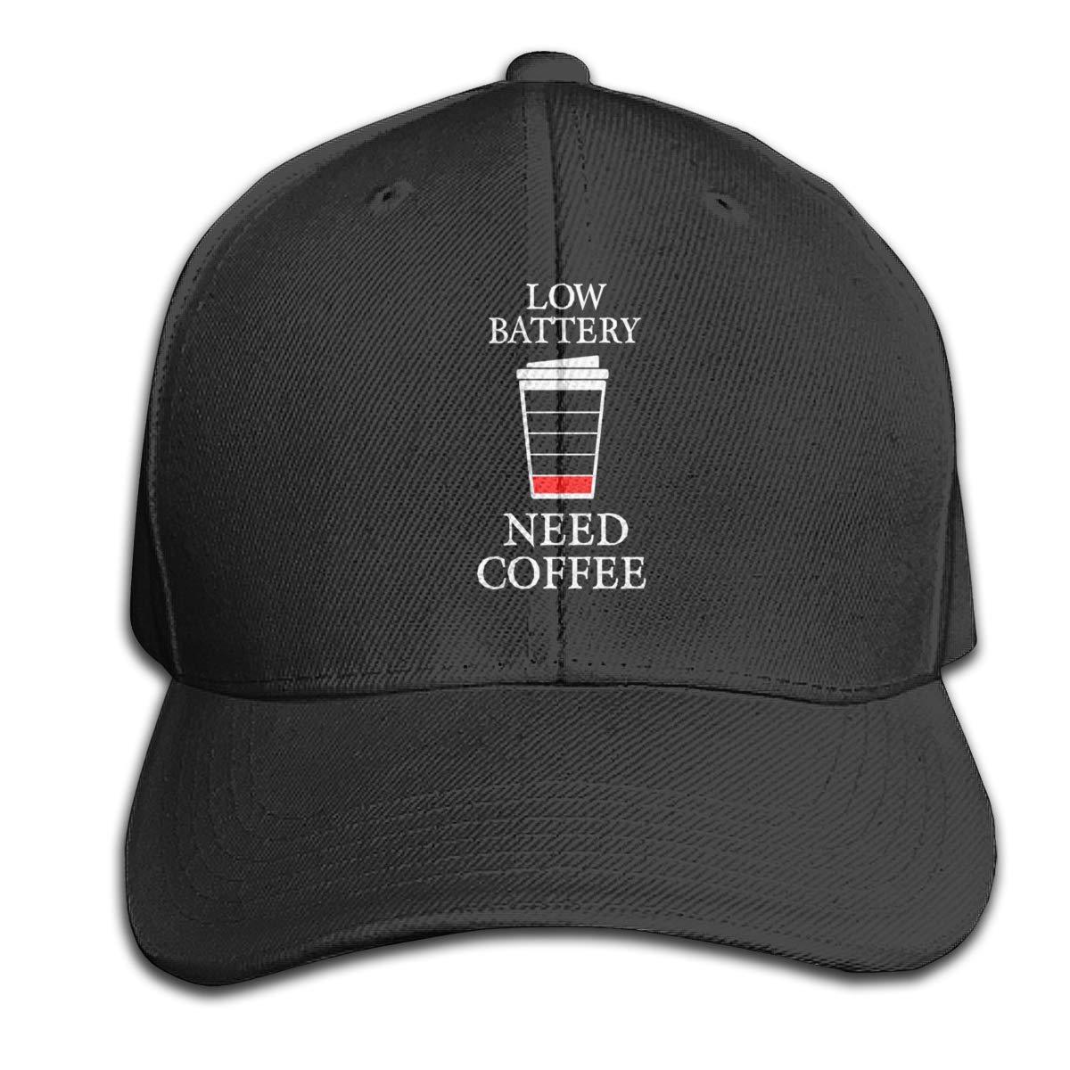 Low Battery Need Coffee Pure Color Peaked Hats Trucker Hats Fits Men Women