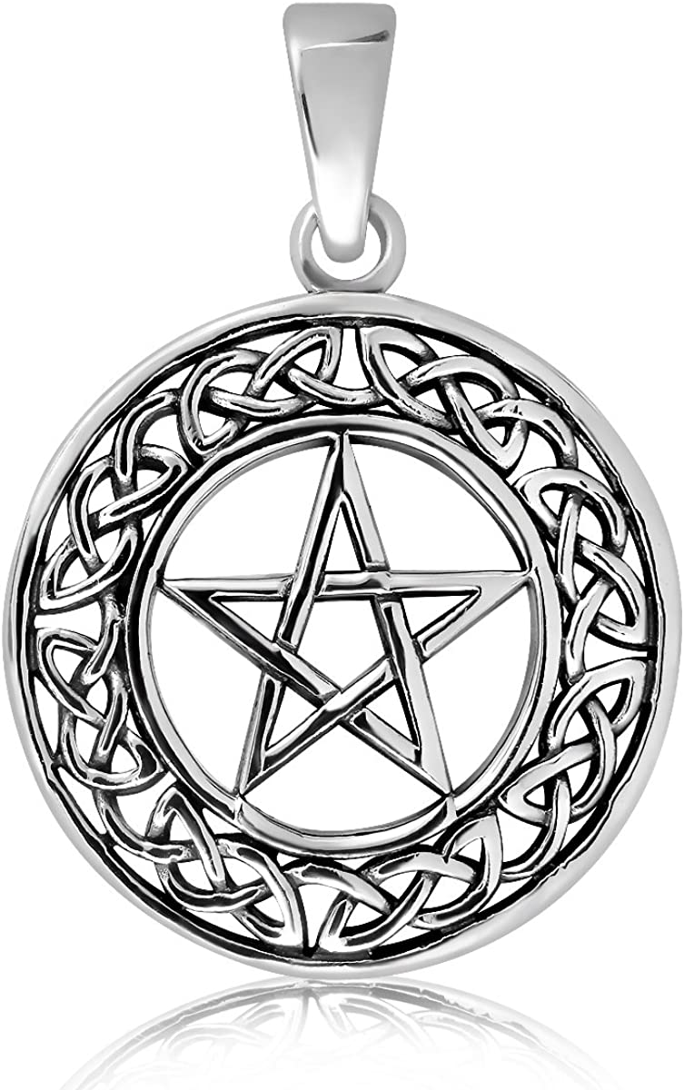 WithLoveSilver Solid Sterling Silver 925 Wiccan Round Cut Out Trinity Celtic Tree of Life Pendant