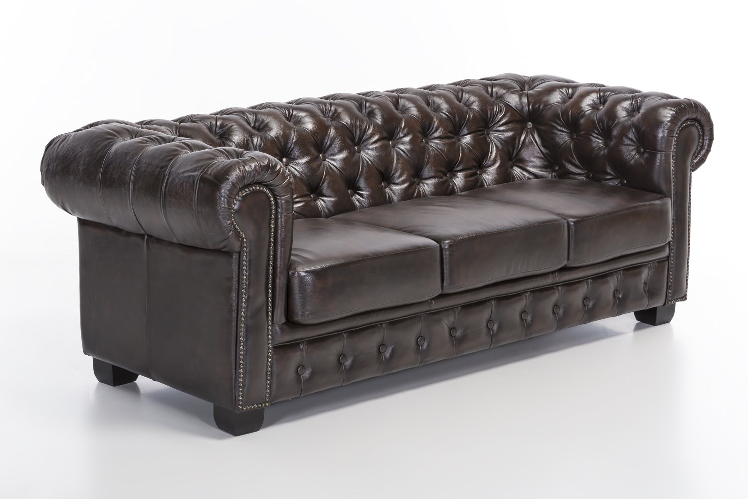woodkings chesterfield sofa 3er braun vintage echtleder couch b rosofa polsterm bel 3 sitzer. Black Bedroom Furniture Sets. Home Design Ideas