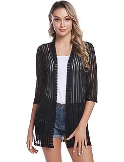 Abollria Damen Sommer Cardigan Leichte Lange Jacke Transparente Offene Strickjacke mit Seitenschlitze,Weiß,M