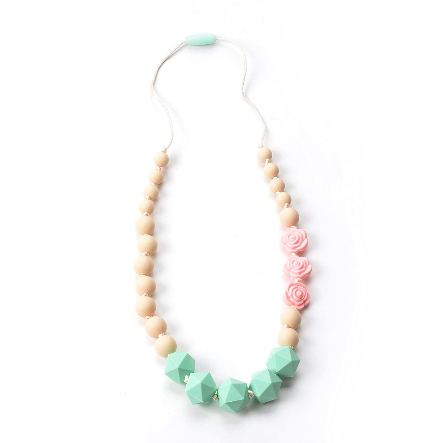 Nummy Beads Perwinkle Rose Silicone Baby Teething Necklace for Mom to Wear 100/% BPA Free