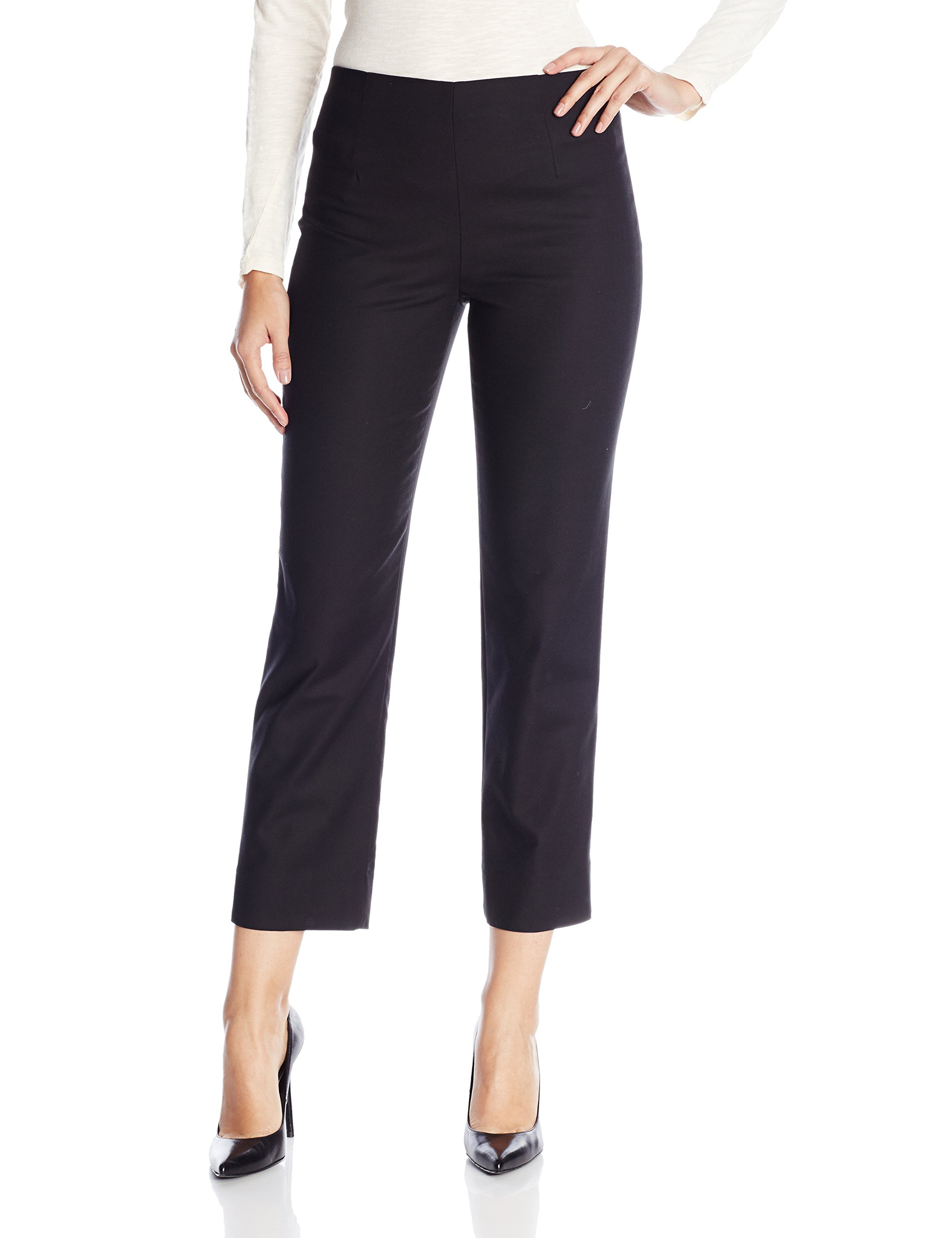 NIC+ZOE Women's Perfect Pant Side Zip Ankle Length, Black Onyx, 6