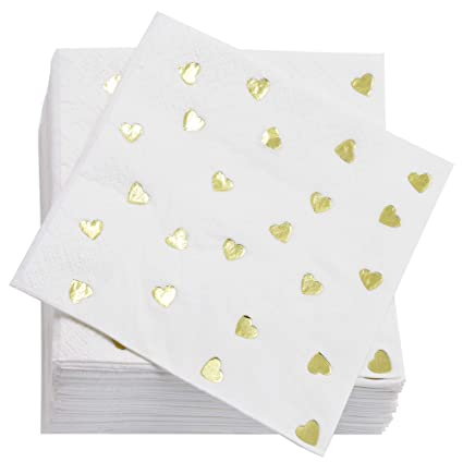 defe90d5825aa Amazon.com | Juvale Gold Heart Cocktail Napkins (50 Pack) 5 x 5 Inches,  Gold Foil: Cocktail Napkins