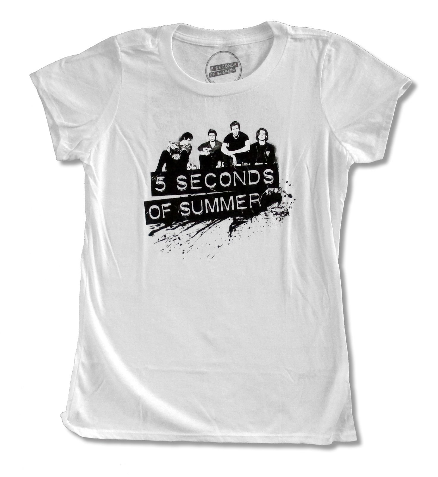 Juniors 5 Seconds of Summer ''Broken Heart'' White Babydoll T Shirt (XL)