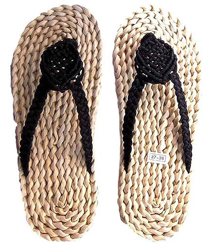 36969a3ecf2b21 seemehappy Women s Handmade Straw Sandals Heart Woven Slippers Slippers  Black (US (5-6.5