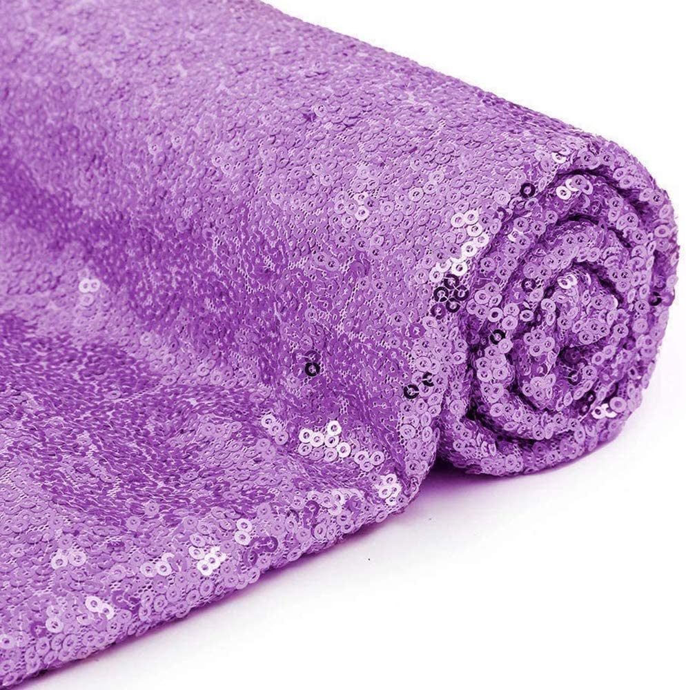Eternal Beauty Lavender Sequin Wedding Backdrop Photography Background Party Curtain 4Ft X 7Ft