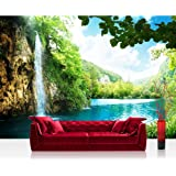 """Photo wallpaper - landscape mountains nature - 78.7""""W by 55.1""""H (200x140cm) - Non-woven PREMIUM PLUS - WATERFALL IN PARADISE - Wall Decor Photo Wall Mural Door Wall Paper Posters & Prints"""