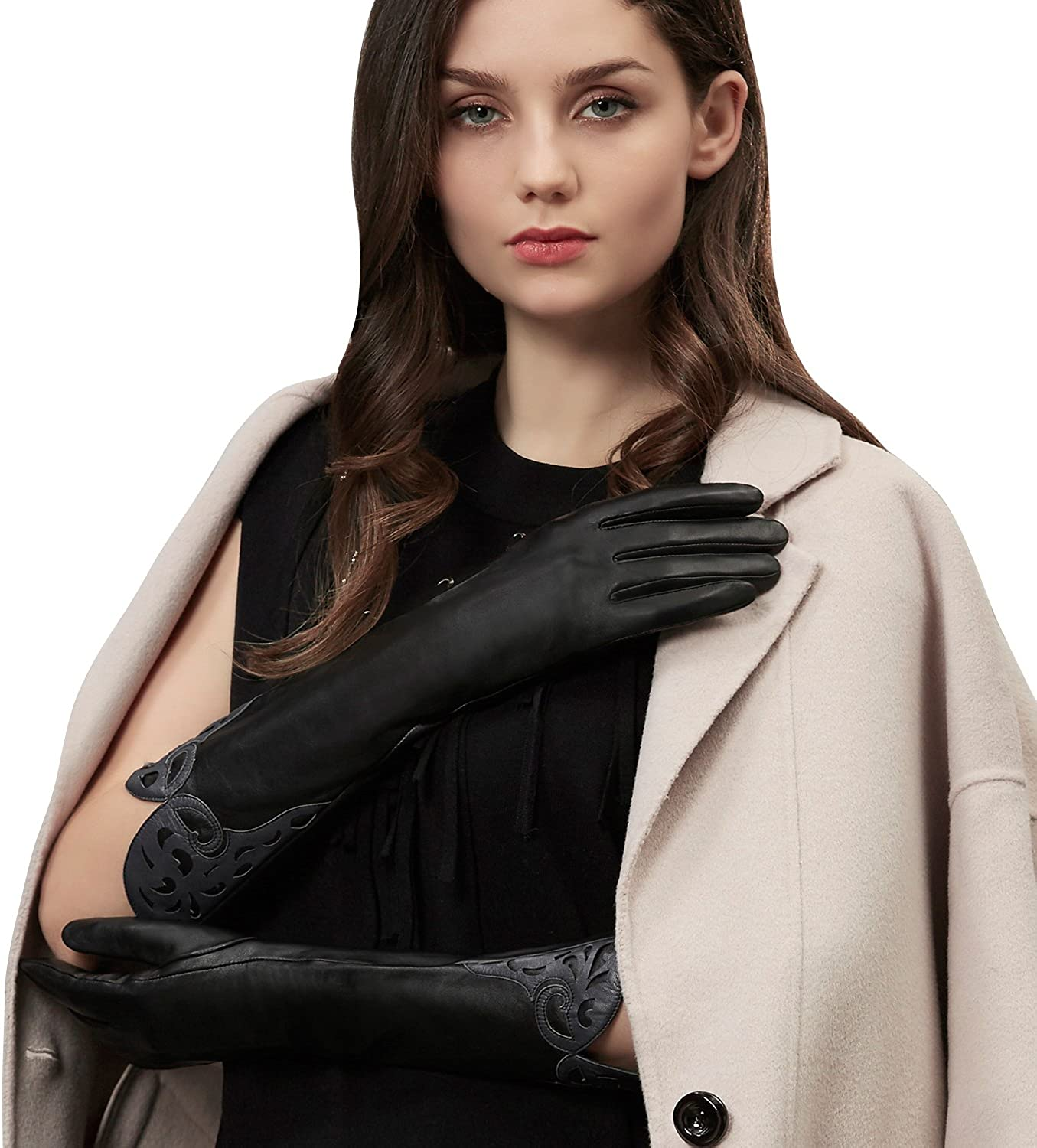 GSG Ladies Long Leather Gloves 100/% Genuine Leather Evening Gloves