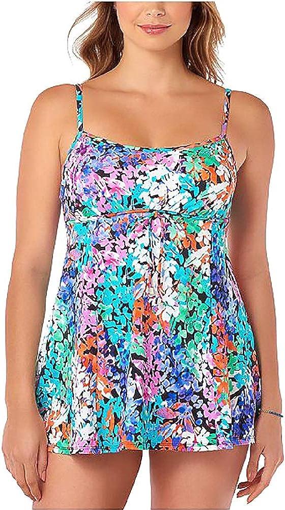 Swim Solutions Dream Garden Tummy-Control Swimdress Multicolor Size 14