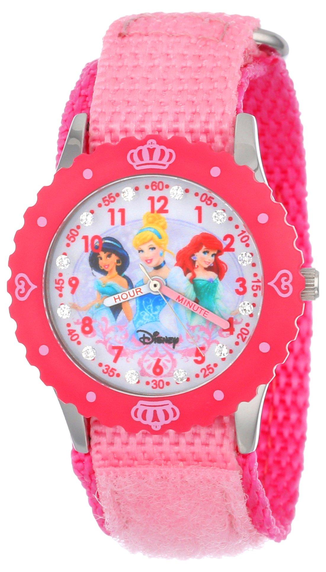 Disney Kids' W000961 ''Princess Time Teacher'' Watch with Pink Nylon Strap