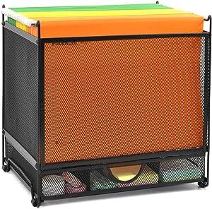 GDINDINFAN Metal Desk Hanging File Folder Box Storage Holder Bin Organizer with Drawer for Letter/A4 for Home Office, Black