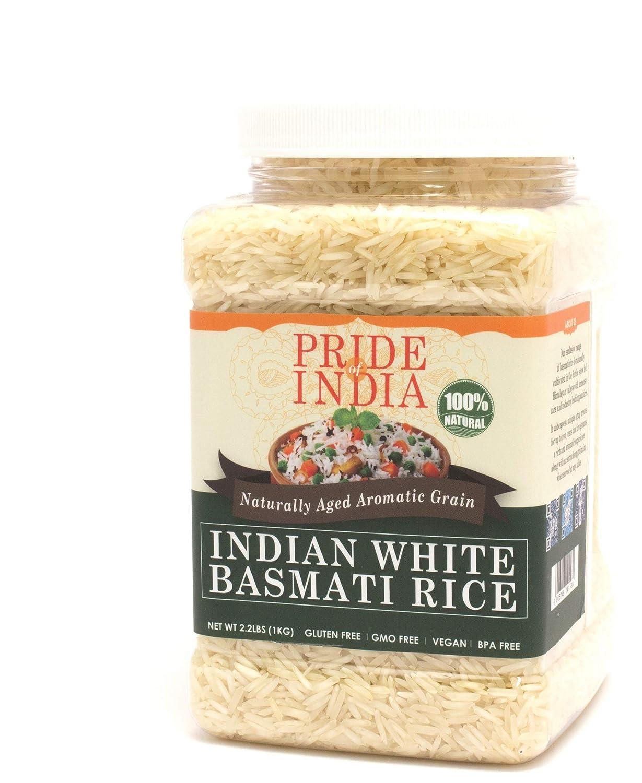 Pride Of India - Extra Long Indian Basmati Rice, Naturally Aged Aromatic Grain, 3.3 Pound (1.5 Kilo) Jar (2.2 Pound + 50% Extra Free = 3.3 Pounds Total)