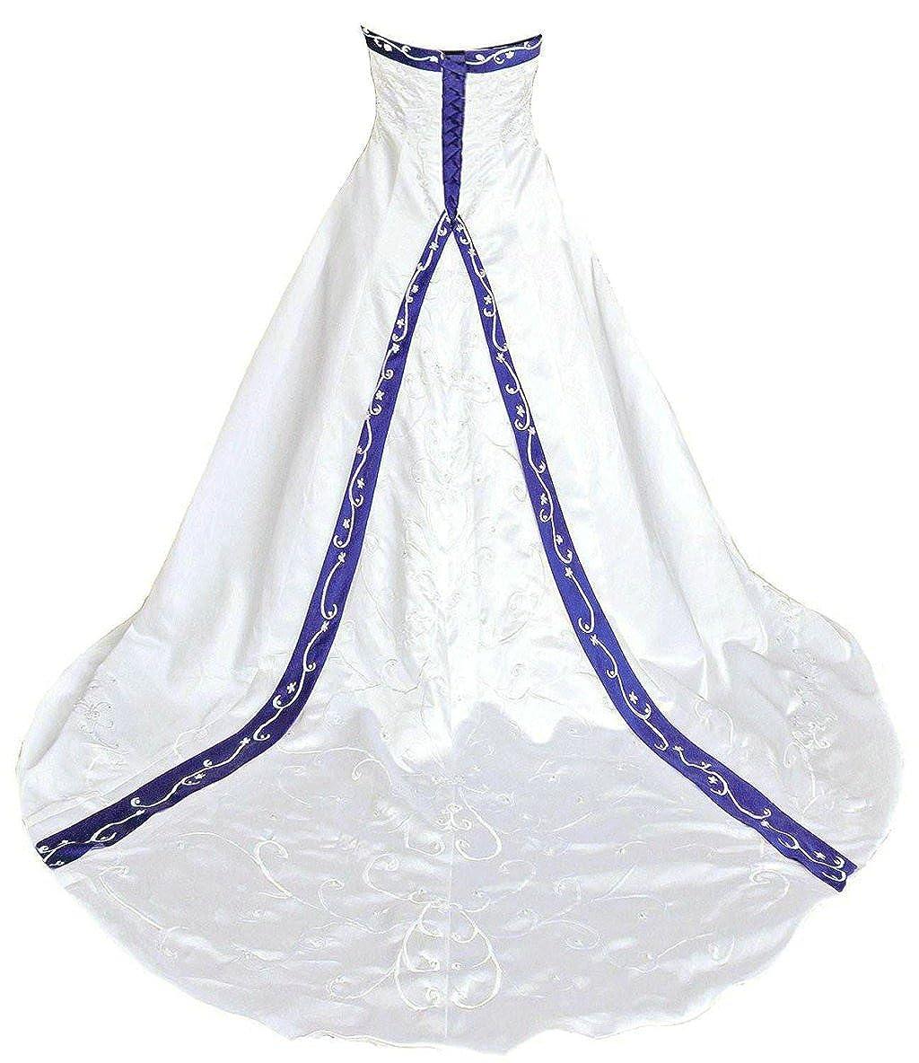 Ivory & bluee Vantexi Women's Elegant Strapless Embroidery Wedding Dress Bridal Gown