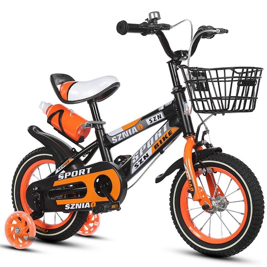 子供の自転車18インチの男性と女性の赤ちゃんのキャリッジ6-9歳の子供の自転車高炭素鋼フレーム、オレンジ/青/赤 (Color : Orange)   B07CZYLN69