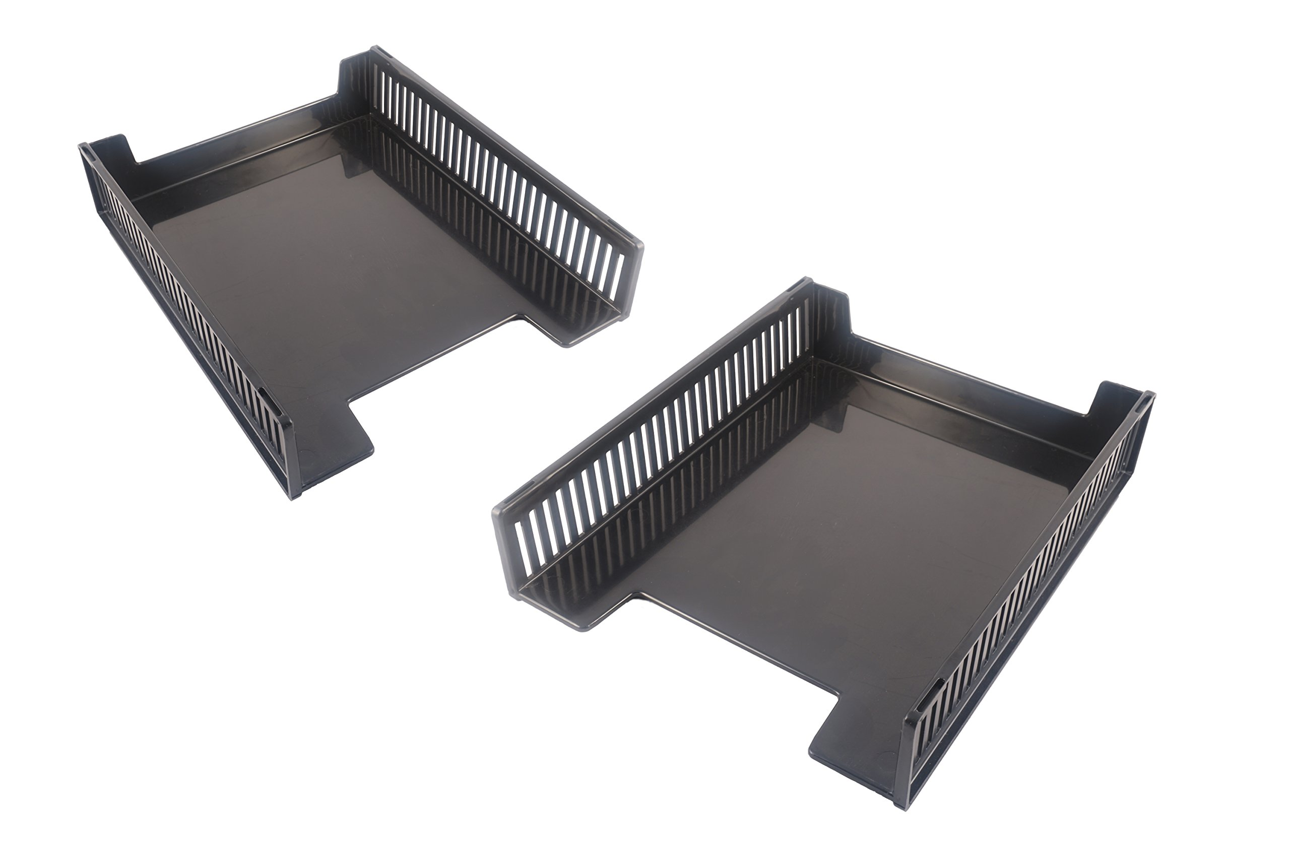 Victor Stackable Front Loading Letter Tray (2 Pack) Black Recycled Plastic