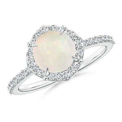 Angara 7mm October Birthstone Opal Engagement Ring in Yellow Gold gf4BsHFb