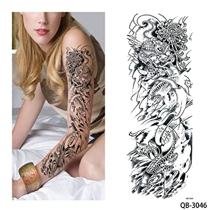 96a1bb823 Image Unavailable. Image not available for. Color: s21 1 Piece Temporary  Tattoo Sticker Nun Girl Pray Design Full Flower Arm ...
