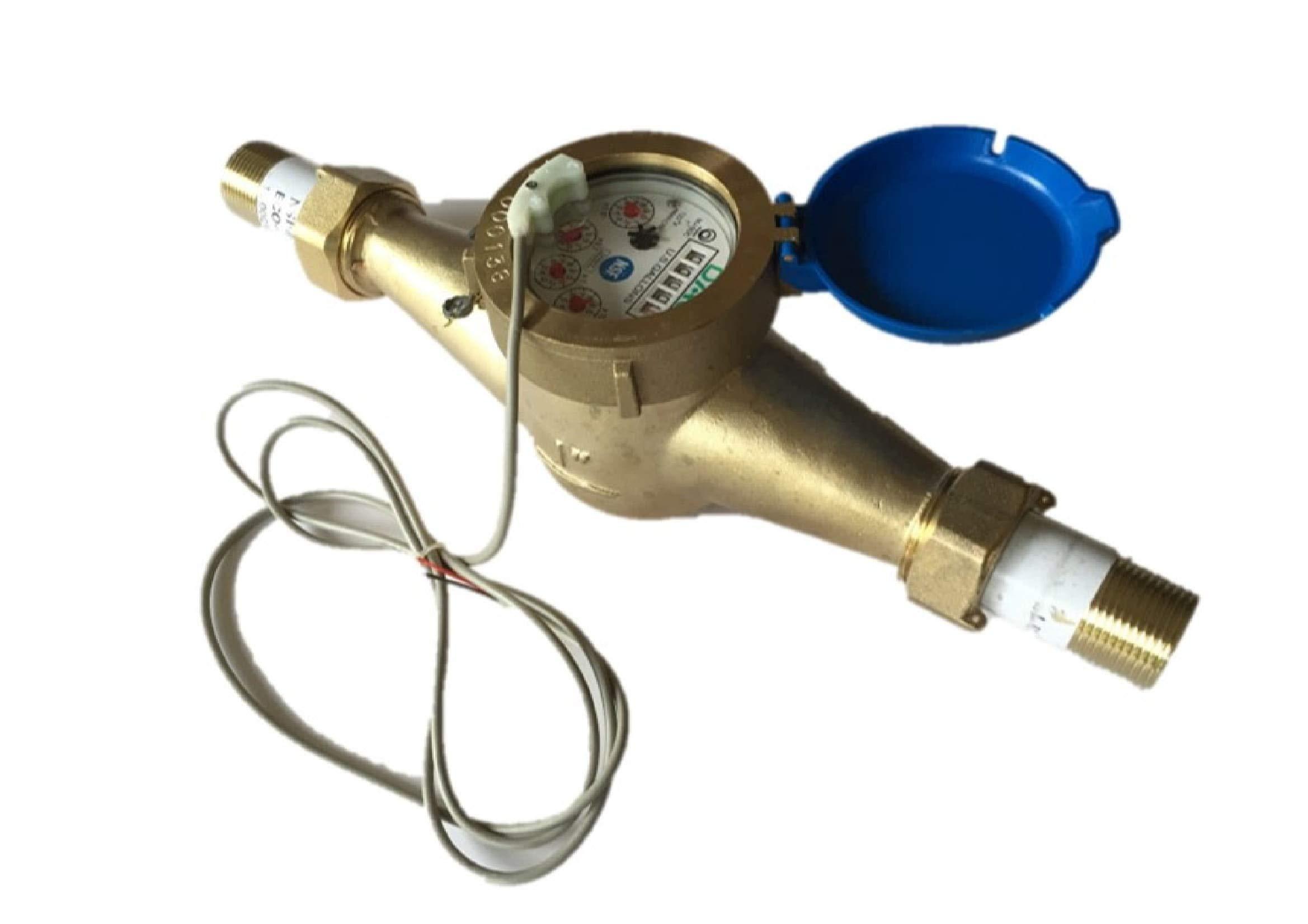 DAE MJ-100 1'' NSF61 Lead Free Potable Water Meter, Pulse Output + Couplings by DAE