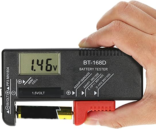 Battery Tester for AA C AAA 9-volt and Button Cell Batteries D