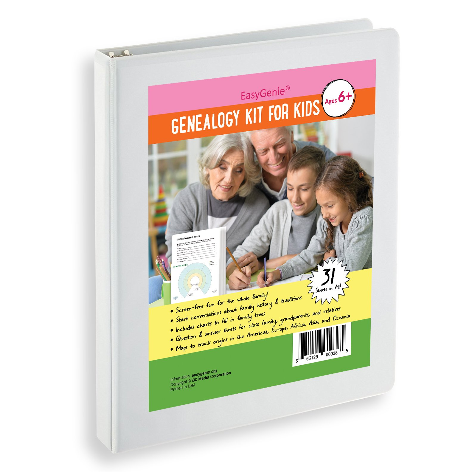 EasyGenie Genealogy Kit for Kids by (31 sheets)