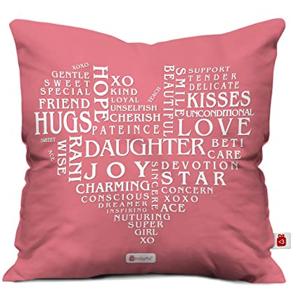Gift For Daughter Pink 12x12 Filled Cushion Birthday Everyday Daughters Day