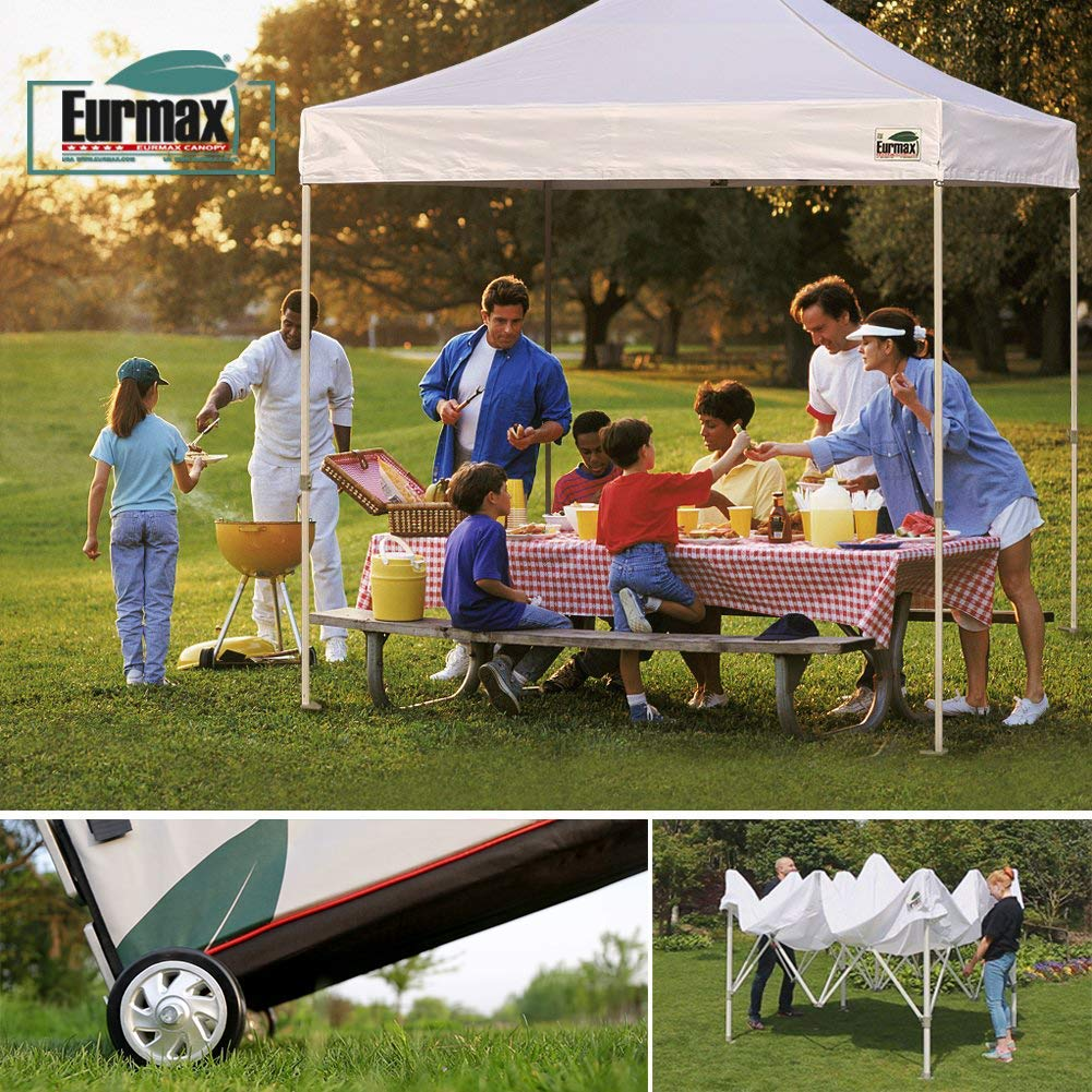 Eurmax 10'x10' Ez Pop Up Canopy Tent Commercial Shelter with Heavy Duty Roller Bag,Bonus 4 Canopy Sand Bags (White) by Eurmax (Image #5)