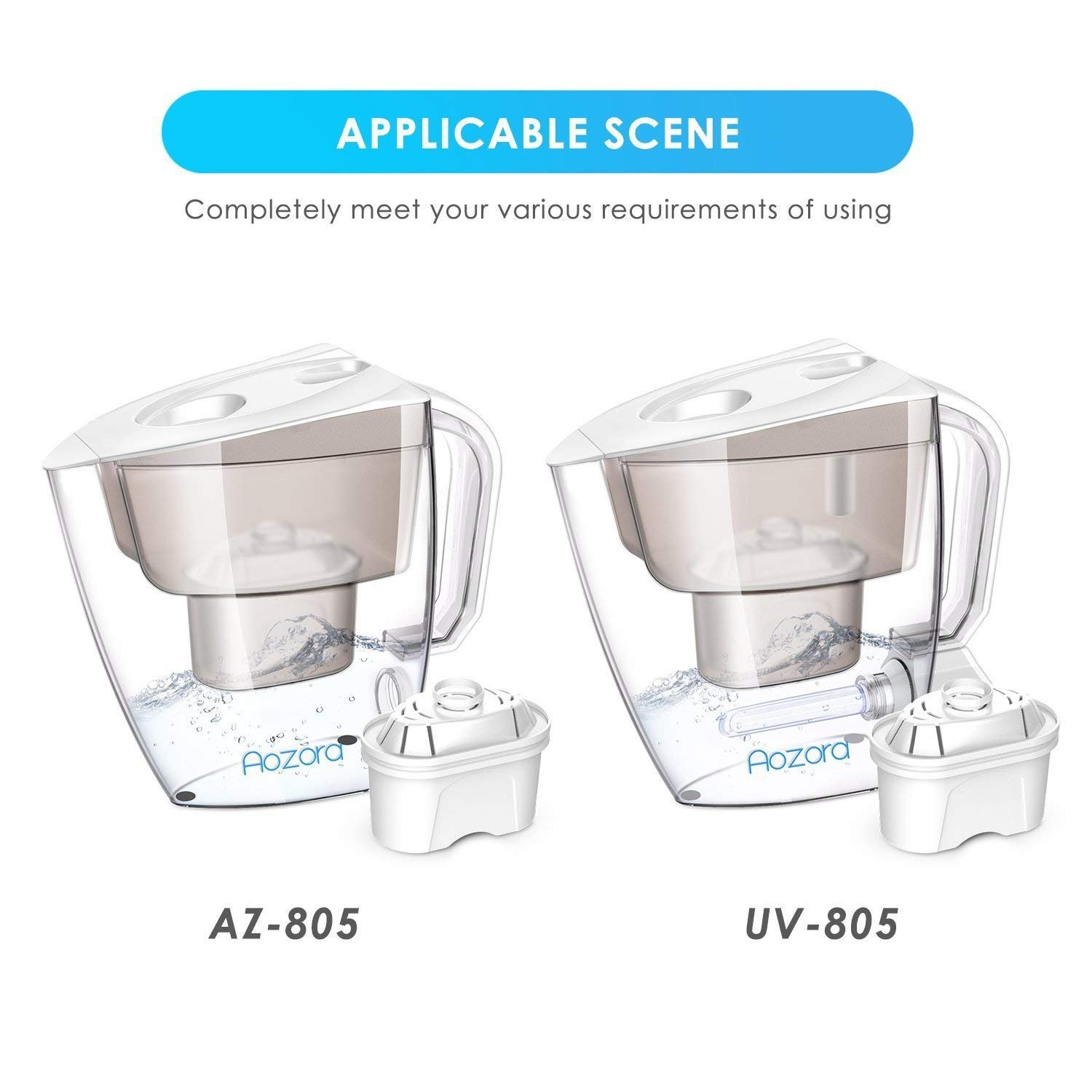 Aozora Replacement Filter Water Pitcher with 4-Stage Filtration for Reducing Lead, Mercury, Zinc, and Removing Chlorine Taste & Odor, Drinking Water Filter for Pitcher by Aozora (Image #4)