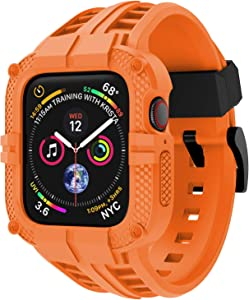 T-ENGINE Band Compatible with Apple Watch Band 40mm 38mm Series 6 Series 5/4/SE Series 3/2/1, TPU Rugged Band with Full Protection Case for Women/Men, Orange