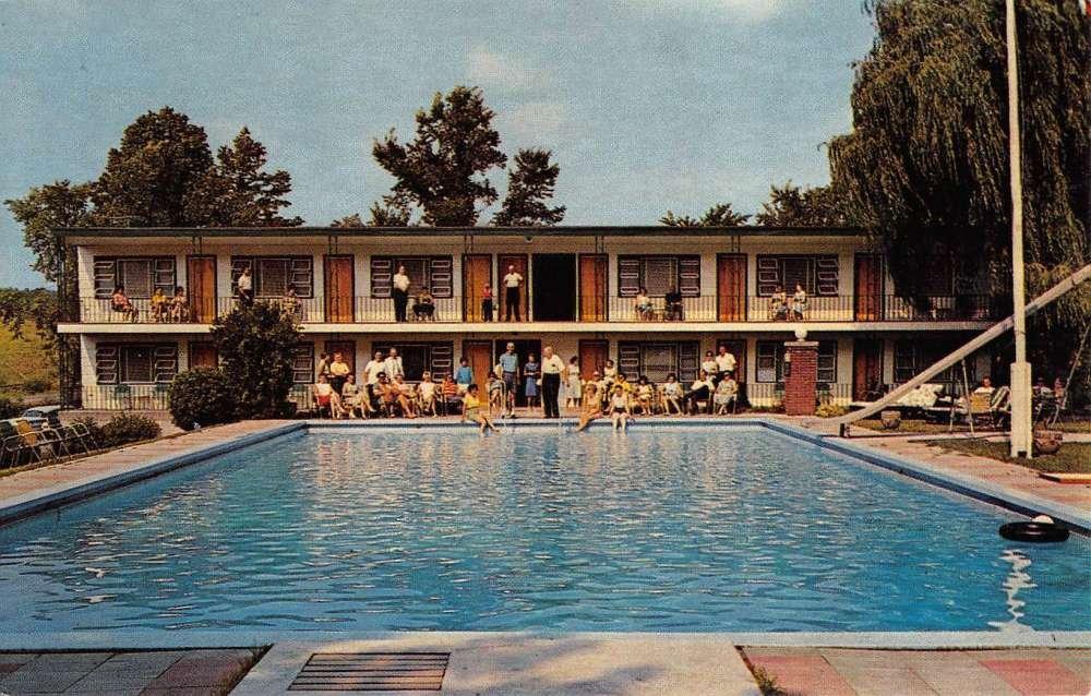 Greenville New York Baumanns Brookside Pool View Vintage Postcard