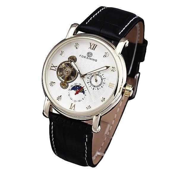 Forsining para hombre relojes primera marca de lujo mecánico Tourbillon reloj de pulsera banda de cuero