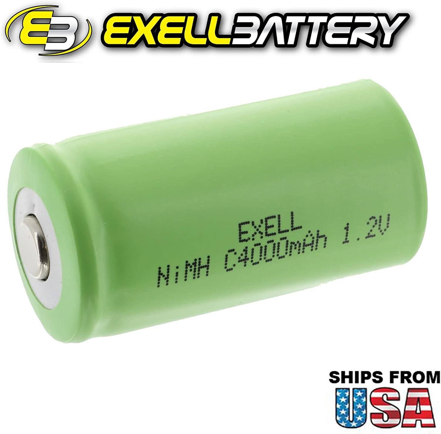 Exell 1.2V 4000mAh NiMH C Size Rechargeable Button Top Battery use with high power static applications radio controlled devices electric tools electric mopeds USA SHIP Telecoms UPS and Smart grid