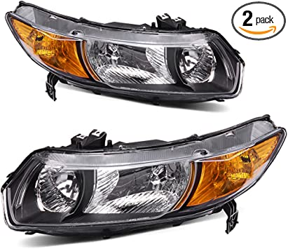 Amazon Com Autosaver88 Headlight Assembly Compatible With 2006 2011 Honda Civic Coupe Oe Style Replacement Headlamps Black Housing With Amber Park Lens Automotive