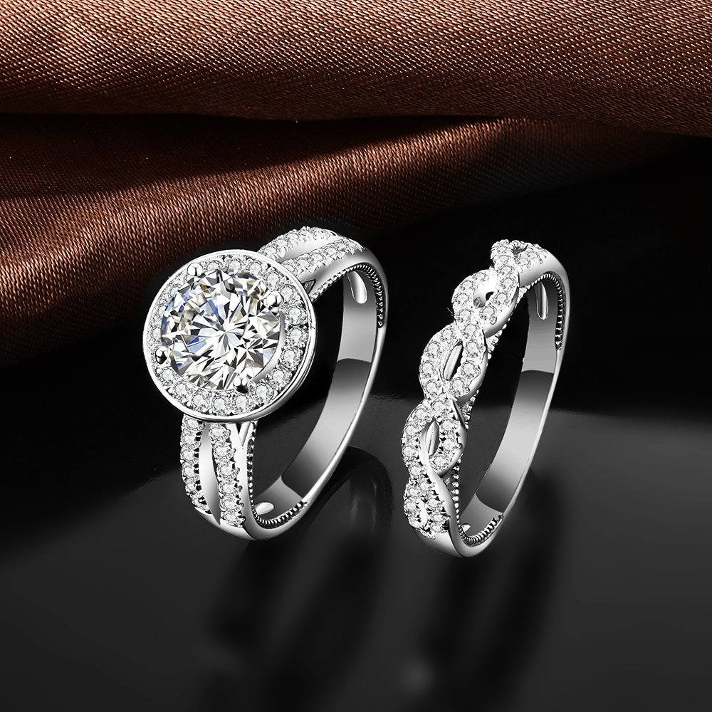 VAN RORSI&MO 2.0ct Round Engagement Wedding Ring Set for Women 18K Gold Plated Sterling Silver Bridal Set Size 8 by VAN RORSI&MO (Image #6)