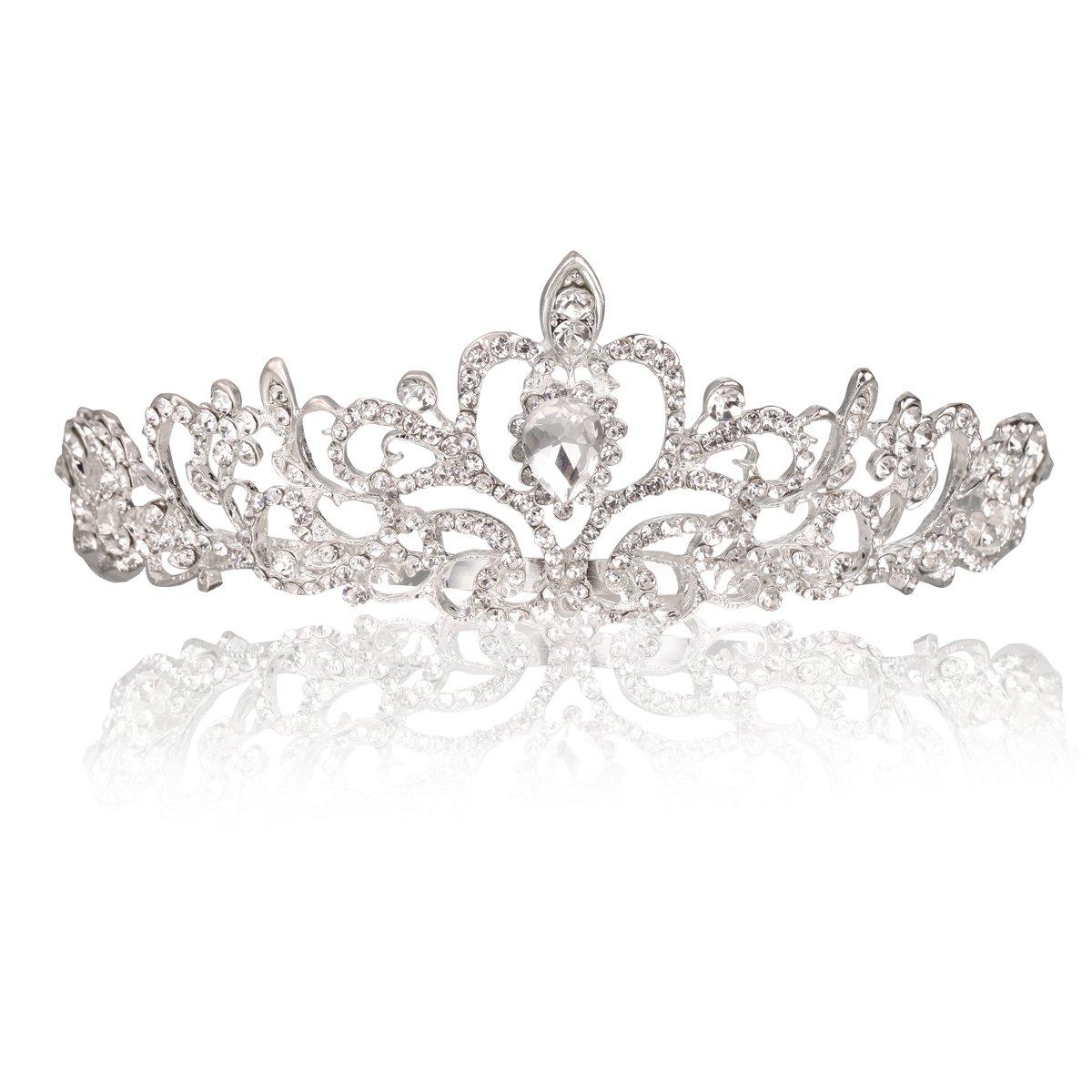 Vinida Crystal Tiara Crown Headband for Wedding Prom Bridal Birthday (Sliver) Makone