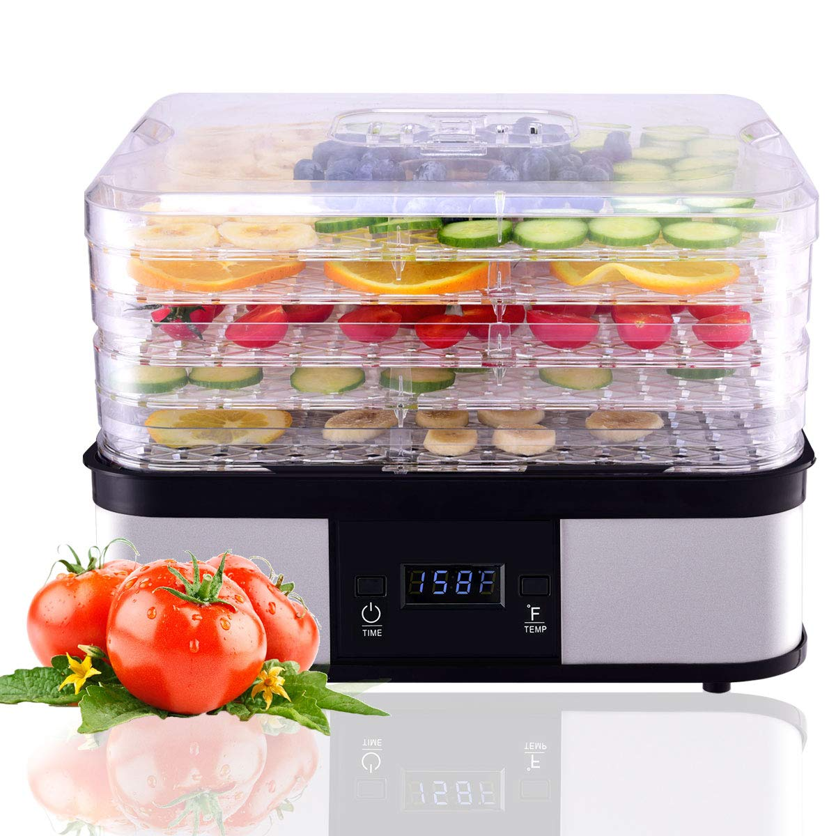 HAPPYGRILL Food Dehydrator Machine, Best Electric 5-Tier Home Food Meat Beef Jerky Fruit Vegetable Dehydrator Dryer Preserver, Professional 360 Degree Hot Air Circulation System, Easy to Clean Black